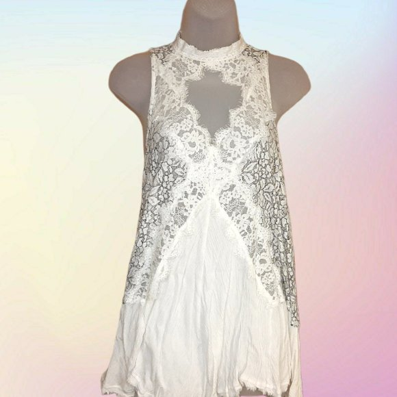 Free People White and Black Lace Minidress sz S